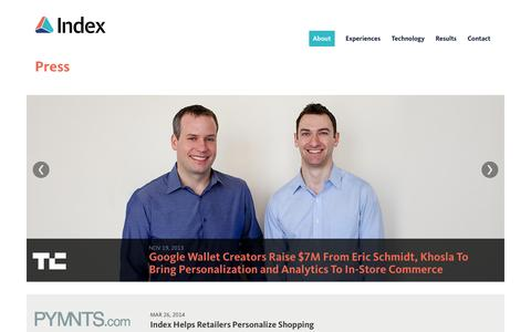 Screenshot of Press Page index.com - Index - captured Sept. 16, 2014