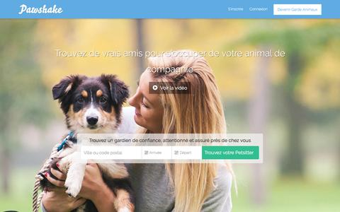 Screenshot of Home Page pawshake.fr - Pawshake   Garde d'animaux à domicile, plus chouette qu'une pension pour chien - captured March 3, 2016