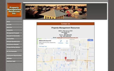 Screenshot of Contact Page propertymgmtresources.com - Property Management Resources - Contact Us - captured Nov. 12, 2016