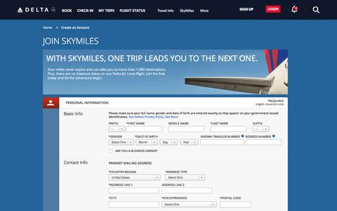Screenshot of Signup Page delta.com - Join SkyMiles® Loyalty Program : Delta Air Lines - captured Aug. 22, 2018