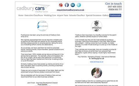 Screenshot of Testimonials Page cadburycars.co.uk - Contact Cadbury Cars - captured Dec. 14, 2017