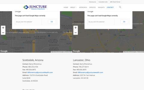 Screenshot of Contact Page juncturewealth.com - Contact    Juncture Wealth Strategies - captured Oct. 14, 2018