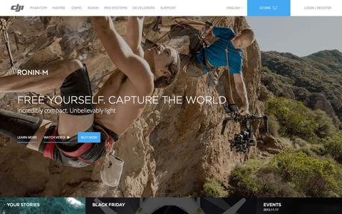 Screenshot of Home Page dji.com - DJI - The World Leader in Camera Drones/Quadcopters for Aerial Photography - captured Nov. 25, 2015