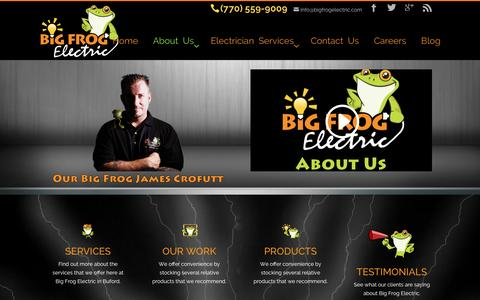 Screenshot of About Page bigfrogelectric.com - Big Frog Electric is a family-owned, owner-operated, electrical service company - captured Jan. 3, 2016