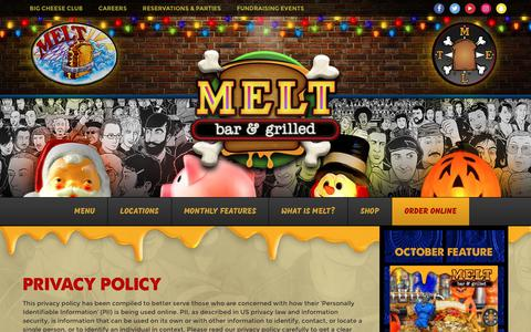 Screenshot of Privacy Page meltbarandgrilled.com - Privacy Policy - Melt Bar and Grilled - captured Oct. 5, 2017