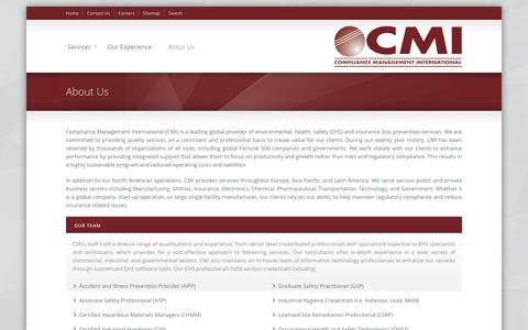Screenshot of About Page complianceplace.com - About Us «  Compliance Management International - captured Sept. 29, 2018
