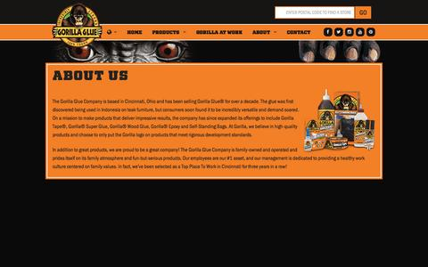 Screenshot of About Page gorillatough.com - The Gorilla Glue Company | About Us | History | Mission - captured Nov. 3, 2014