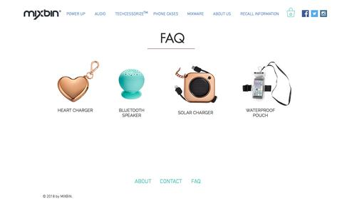 Screenshot of FAQ Page getmixbin.com - MixBin   Stylish Tech Accessories   FAQ - captured Sept. 25, 2018