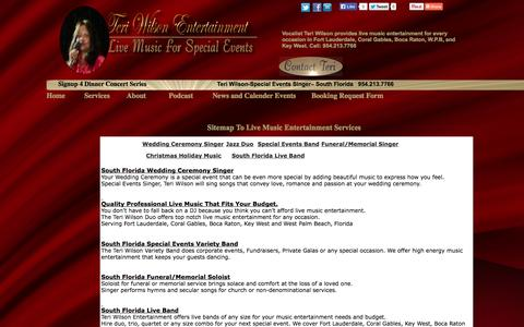 Screenshot of Services Page Site Map Page teriwilsonentertainment.com - Teri Wilson Entertainment Sitemap To Music Entertainment Services - captured Oct. 26, 2014