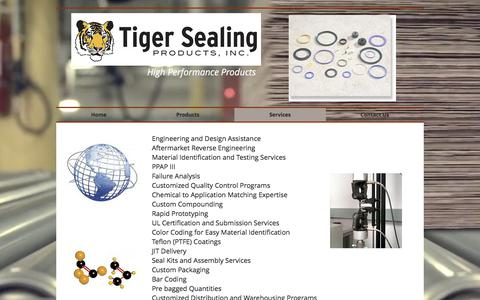 Screenshot of Services Page tigersealing.com - Tiger Sealing Products | Services - captured Oct. 24, 2017