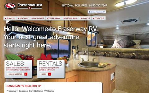 Screenshot of Home Page fraserway.com - RV For Sale Canada - Dealers, Dealerships Parts & Accessories - captured Feb. 10, 2016