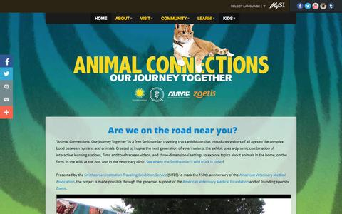 Screenshot of Home Page animalconnections.com - Smithsonian's Animal Connections - captured Jan. 27, 2015