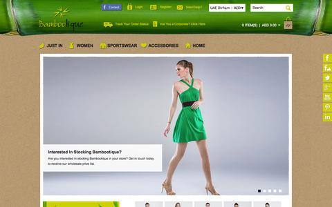 Screenshot of Home Page bambootique.com - Bamboo Clothing- Eco-friendly Clothing & Accessories in the UAE | Bambootique - captured Sept. 30, 2014