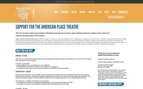 Screenshot of Support Page americanplacetheatre.org - Support // The American Place Theatre - captured Oct. 7, 2014