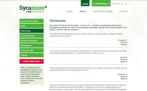 Screenshot of Testimonials Page sycamoreeducation.com - Testimonials   School Management Software - Online Student Information System by Sycamore - captured Oct. 31, 2014