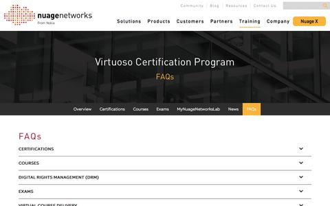 Screenshot of FAQ Page nuagenetworks.net - FAQs - Nuage Networks - captured Feb. 10, 2018