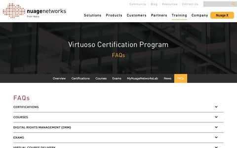 Screenshot of FAQ Page nuagenetworks.net - FAQs - Nuage Networks - captured Feb. 10, 2018