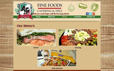 Screenshot of Menu Page agfinefoods.com - A&G Italian Fine Foods | Italian Deli & Catering | Menus - captured Nov. 14, 2016