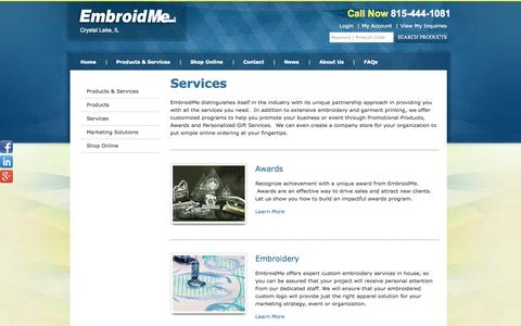 Screenshot of Services Page embroidme-crystallake.com - Services   EmbroidMe - captured Oct. 2, 2014