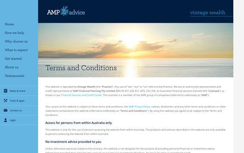 Screenshot of Terms Page amp.com.au - Terms and conditions - captured Oct. 27, 2017