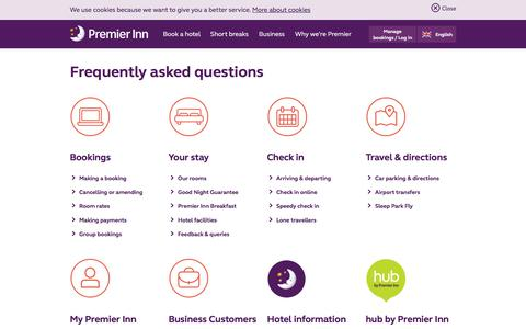 Screenshot of FAQ Page premierinn.com - Frequently Asked Questions | Premier Inn - captured Oct. 18, 2017