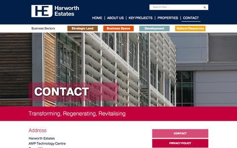 Screenshot of Contact Page harworthestates.co.uk - Harworth Estates | Transforming, Regenerating, Revitalising - captured Sept. 29, 2014