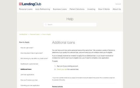 Screenshot of Support Page lendingclub.com - Additional loans – LendingClub - captured June 27, 2018