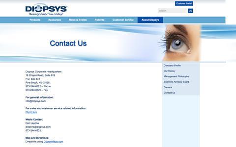 Screenshot of Contact Page diopsys.com - Contact Us  | Diopsys - captured Aug. 2, 2016