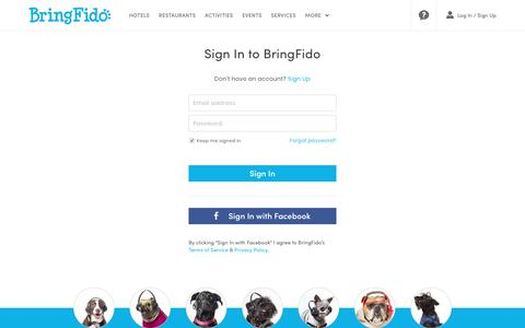 Screenshot of Login Page bringfido.com - Sign In to BringFido.com - captured Sept. 22, 2018