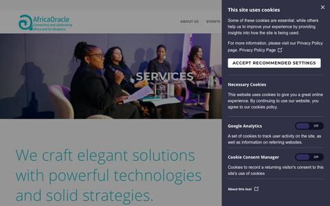 Screenshot of Services Page africaoracle.com - Services |  AfricaOracle - captured July 29, 2018