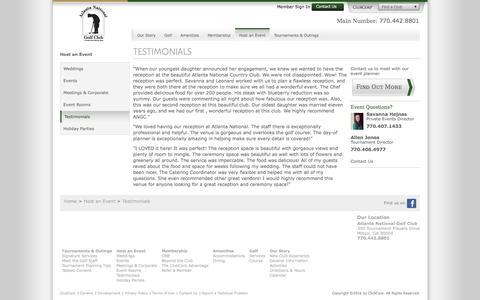 Screenshot of Testimonials Page clubcorp.com - Testimonials | Atlanta National Golf Club - captured July 27, 2016
