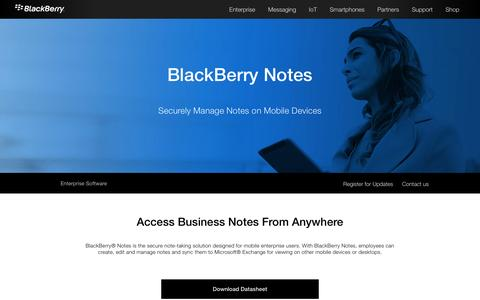 Exchange Notes Management on Mobile Devices – BlackBerry Notes - United States
