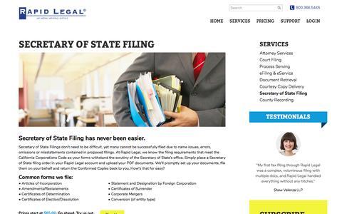 CA Secretary of State Filing – Rapid Legal