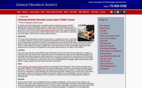 Screenshot of Blog geraldfranklinagency.com - Houston Liquor License Service Agency | TABC Required - captured Dec. 5, 2015