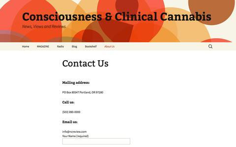 Screenshot of Contact Page ncreview.com - Contact us|Spiritual Author Interviews|Body Mind Spirit Magazine | Consciousness & Clinical Cannabis - captured Sept. 22, 2018