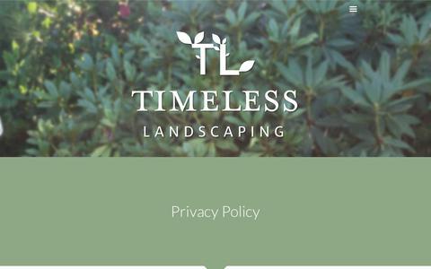 Screenshot of Privacy Page timelesslandscaping.com - Timeless Landscaping - captured Oct. 25, 2017