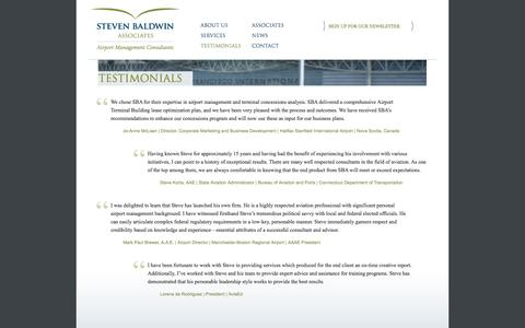Screenshot of Testimonials Page baldwinllc.com - Testimonials - Steven Baldwin Associates, LLC - captured Oct. 6, 2014