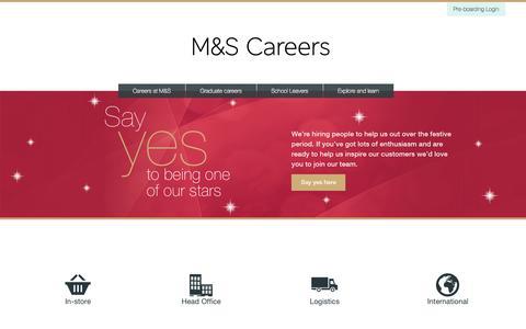 Screenshot of Jobs Page marksandspencer.com - M&S Careers | Jobs In-Store, Head Office, Logistics & International - captured Oct. 29, 2014