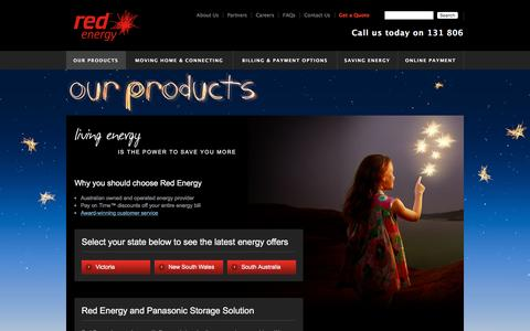 Screenshot of Products Page redenergy.com.au - Energy Products - Energy Services - Red Energy - captured Nov. 24, 2015