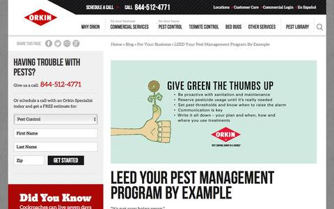 Screenshot of Blog orkin.com - LEED Your Pest Management Program By Example - captured Nov. 25, 2015