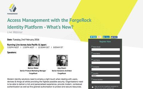 Screenshot of Landing Page forgerock.com - ForgeRock Webinar - captured Feb. 10, 2017