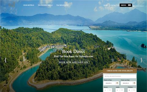 Screenshot of Home Page tajhotels.com - Book Best Luxury Hotels & Resorts in the World   Taj, Vivanta & The Gateway Hotels - captured Sept. 22, 2018