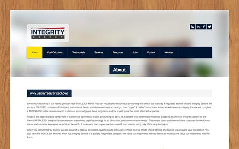 Screenshot of About Page intescrow.com - Integrity Escrow » About - captured Oct. 6, 2014