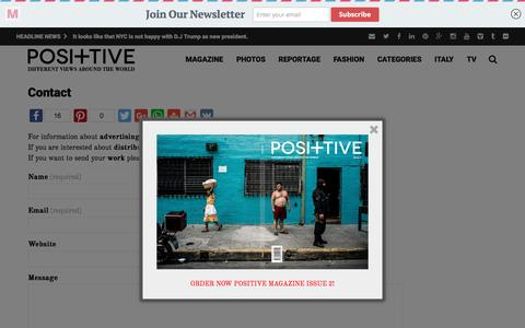 Screenshot of Contact Page positive-magazine.com - Contact - Positive Magazine - captured Nov. 28, 2016