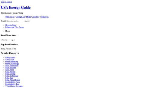 Screenshot of Home Page usaenergyguide.com - USA Energy Guide - The Alternative Energy Guide - captured Oct. 25, 2014