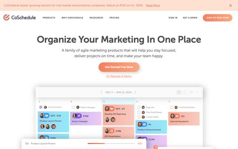 Screenshot of Home Page coschedule.com - Organize Your Marketing In 1 Place - CoSchedule Marketing Suite - captured March 18, 2019