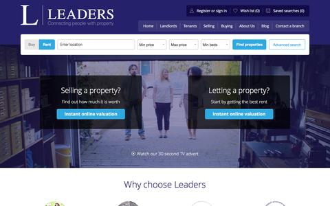 Screenshot of Home Page leaders.co.uk - Leaders - Letting & Estate Agents - captured Sept. 8, 2016