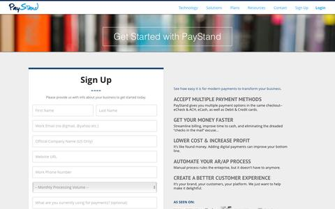 Screenshot of Signup Page paystand.com - PayStand | Signup for demo/trial account - captured June 24, 2016