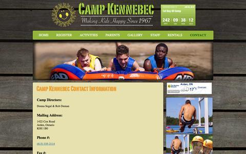 Screenshot of Contact Page campkennebec.com - Contact Information | Camp Kennebec - captured Oct. 28, 2014