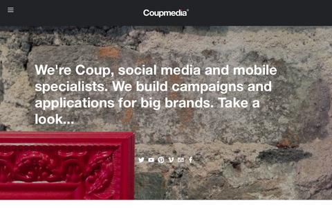 Screenshot of Home Page coupmedia.com - Coup Media - Social Media and Mobile Marketing from Top 10 rated UK agency in England and WalesCoup Media - captured Jan. 31, 2016
